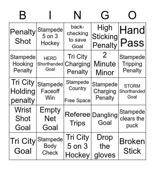 Stampede Bingo Card