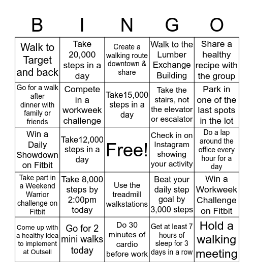 Outsell's March-ing Bingo Card