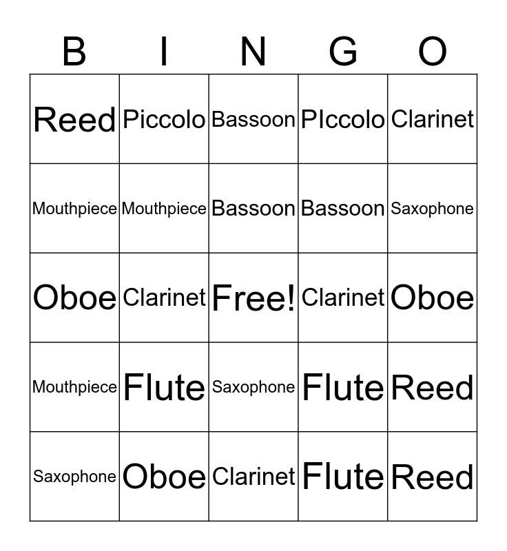 Woodwind Instruments Bingo Card