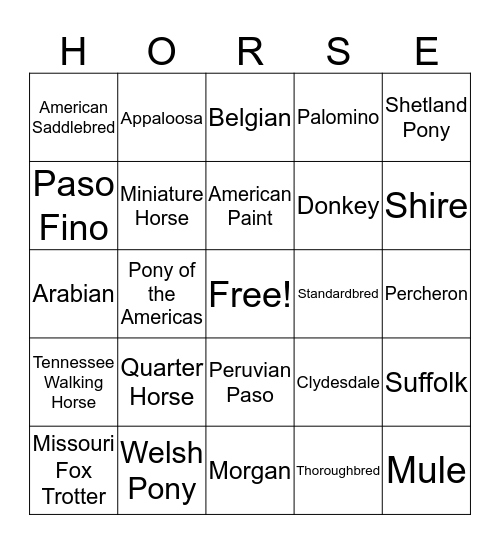 HORSE Bingo Card
