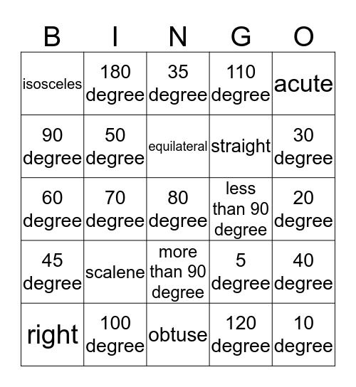 Triangle Bingo Card