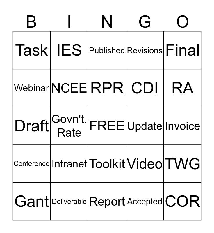 REL Central Bingo! Bingo Card