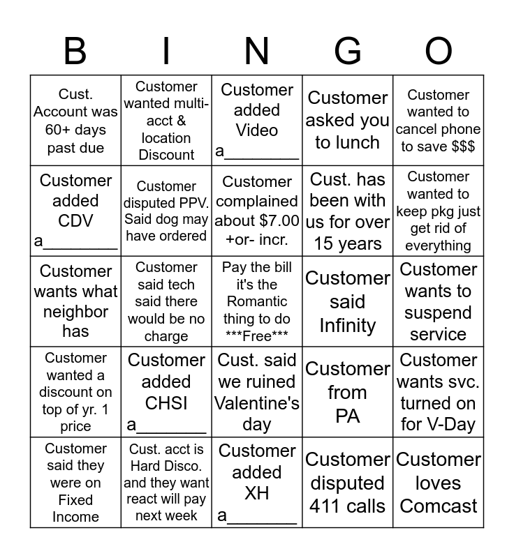 Name:_____________Disco Bingo (please provide acct. # for anything with a______ at the bottom) 1 Square Per Account Bingo Card