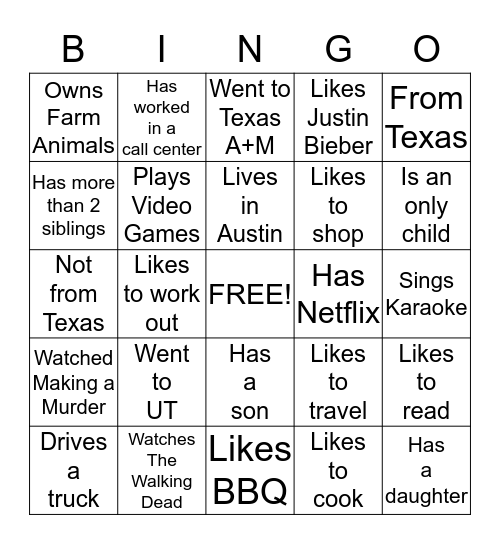 Get to know each other! Bingo Card