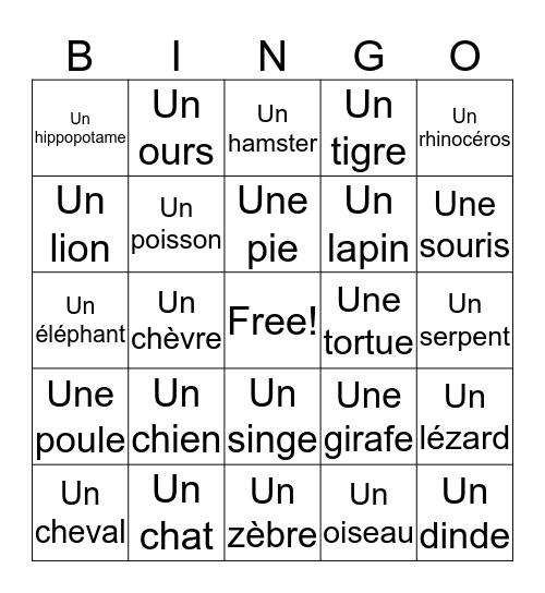 Animaux Bingo Card