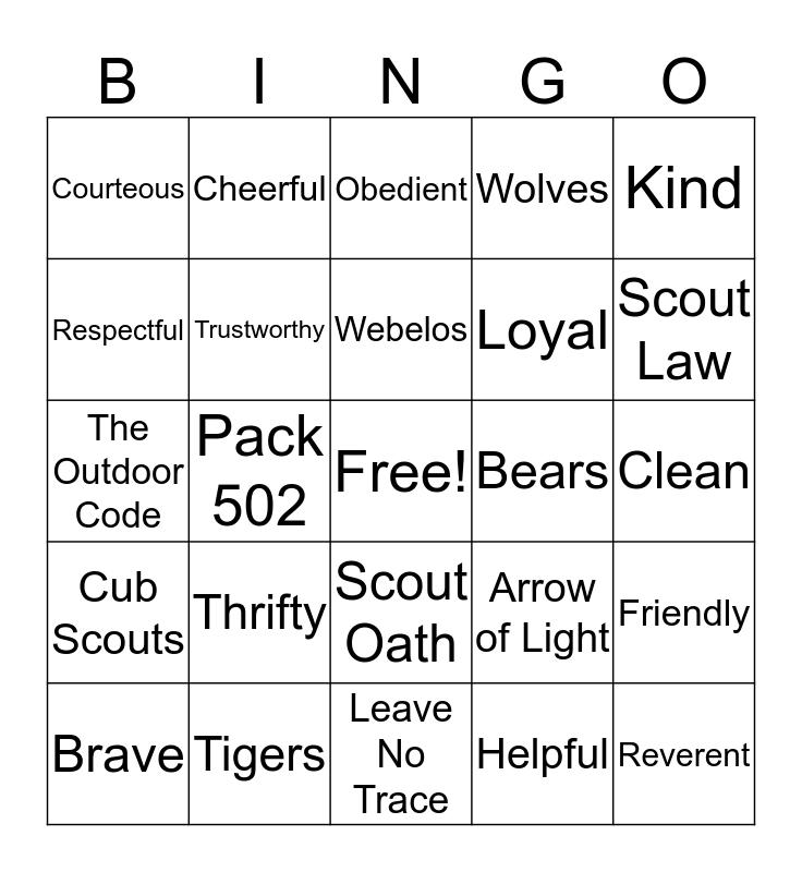 Tiger Bingo Card
