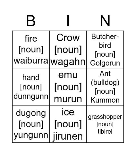 Yugambeh Bingo Card