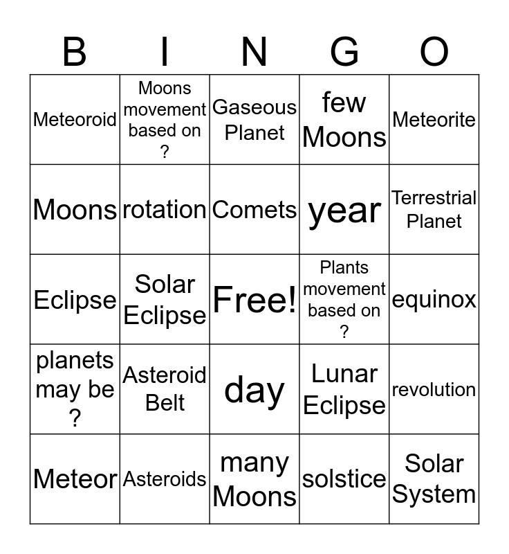 Solar System 8.4-1 Bingo Card