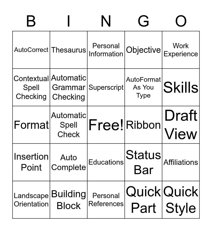 Lesson 3 Bingo Card