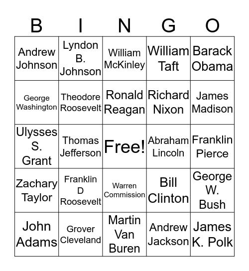 TOS Team BINGO - Presidential Trivia Bingo Card