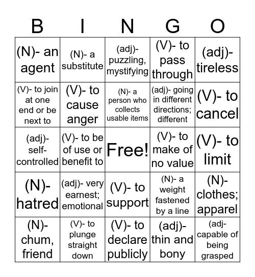 Bingo Vocab Cards  Bingo Card