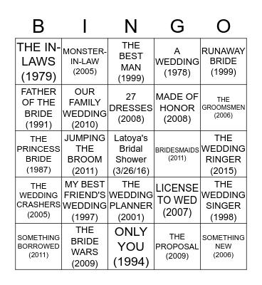 LATOYA'S BRIDAL SHOWER BINGO! Bingo Card