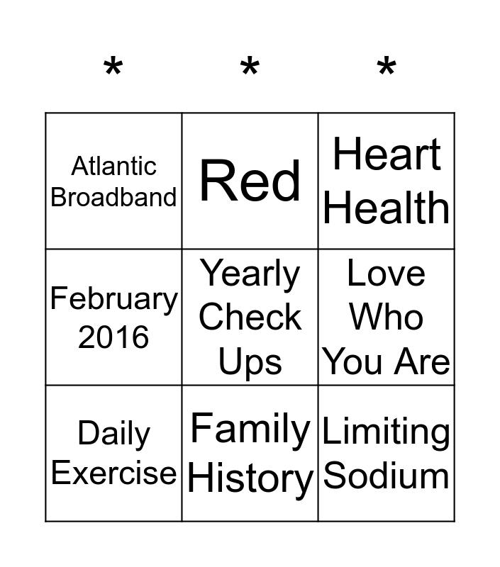 Women's Health Bingo Card