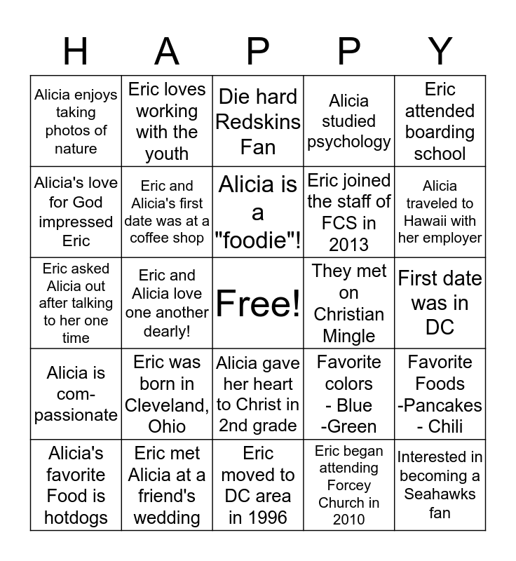 "Eric and Alicia Brown - ""To Have and To Hold"" Bingo Card"