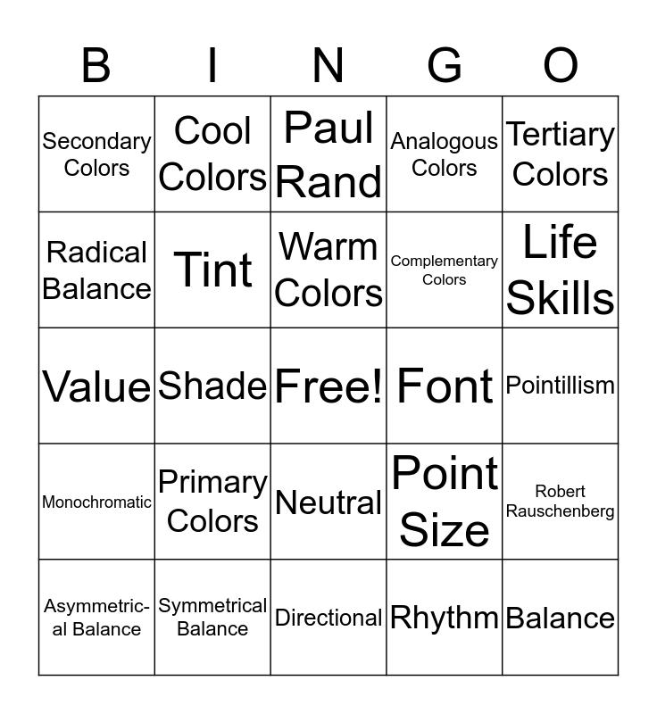 4-H Art Bingo Card