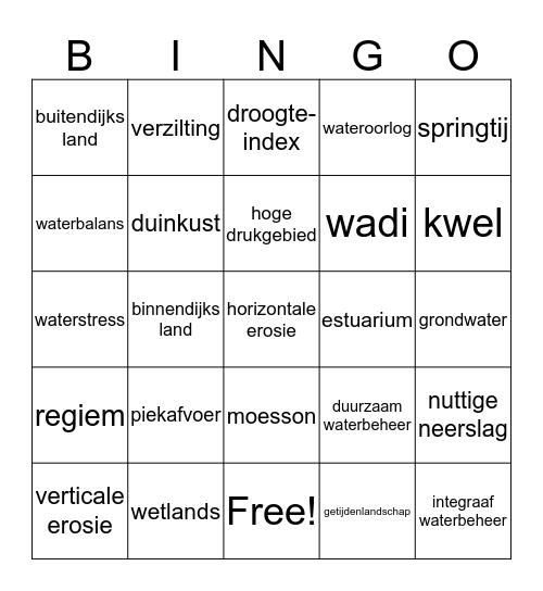 Hoofdstuk 4 - Water Bingo Card