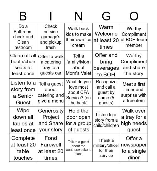 Service Bingo  Bingo Card