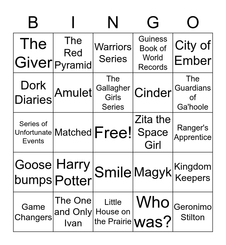 Book Bingo Card