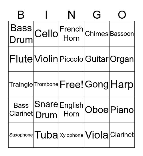 Instrument Bingo Card