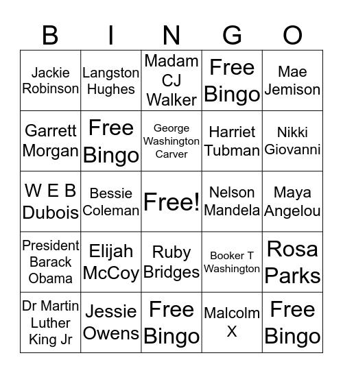 Afro-American Bingo Card