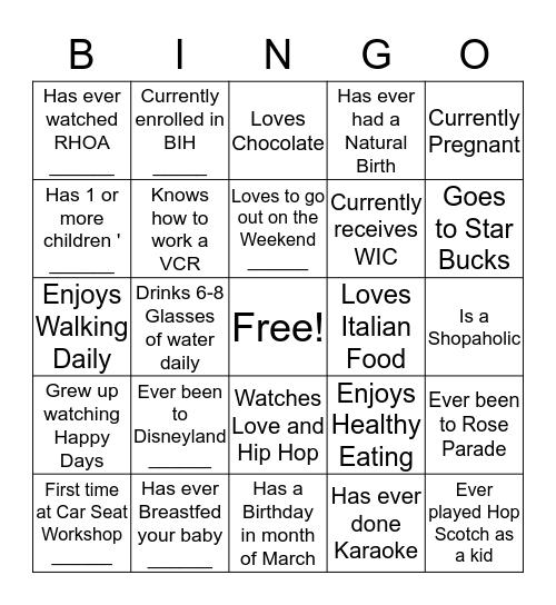 Mingle and Bingo Card