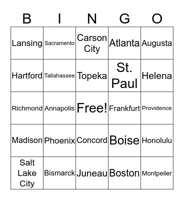 State Capitals Bingo Card