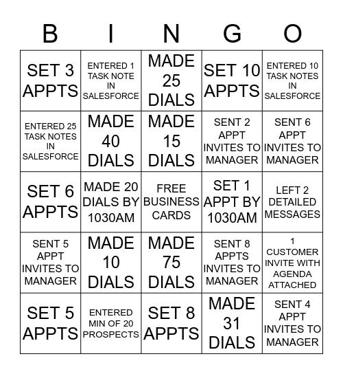 Call Blitz Bingo Card