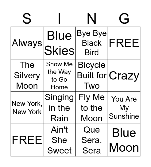 Music Singo Bingo Card