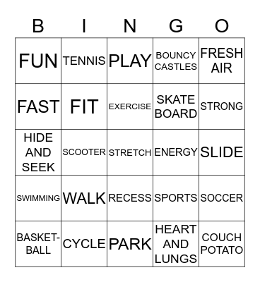 Exercise! Bingo Card