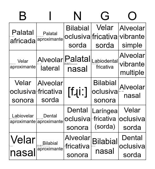 la fonética articulatoria Bingo Card