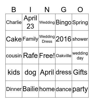 Bailie's Shower Bingo....   Bingo Card
