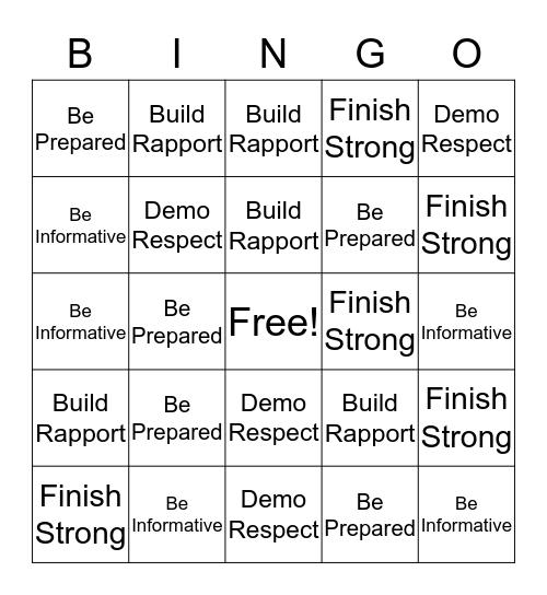 5 Essential Behaivor Bingo Card