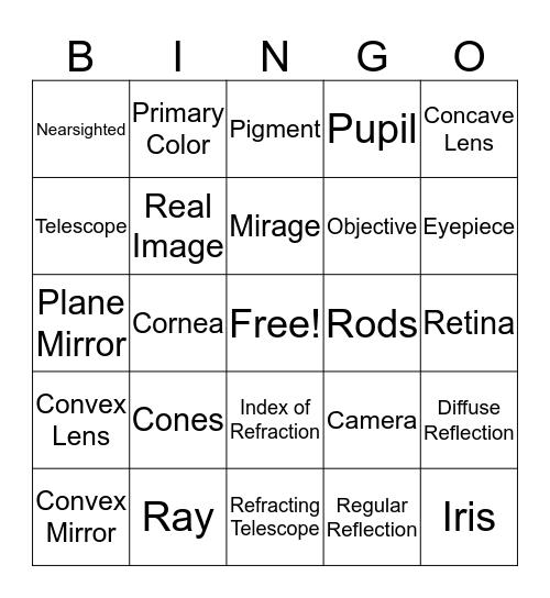 Light Bingo Card