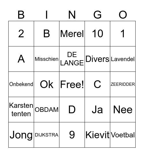 Familie weekend Bingo Card