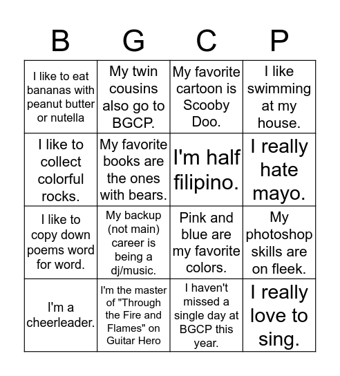 How well do you know our BGCP members? Bingo Card