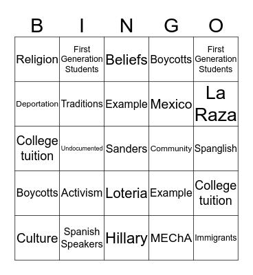 Chicano Bingo  Bingo Card