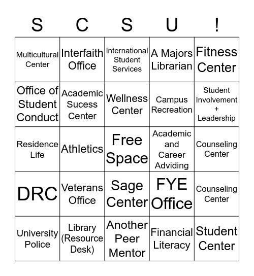 Campus Resources  Bingo Card
