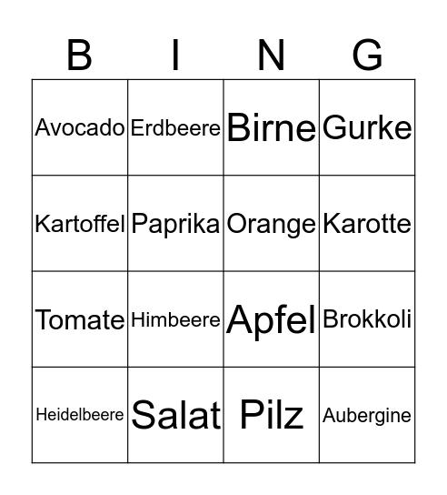 Obst & Gemüse Bingo Card