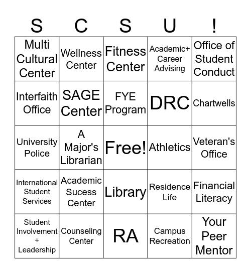 Resources on Campus Bingo Card