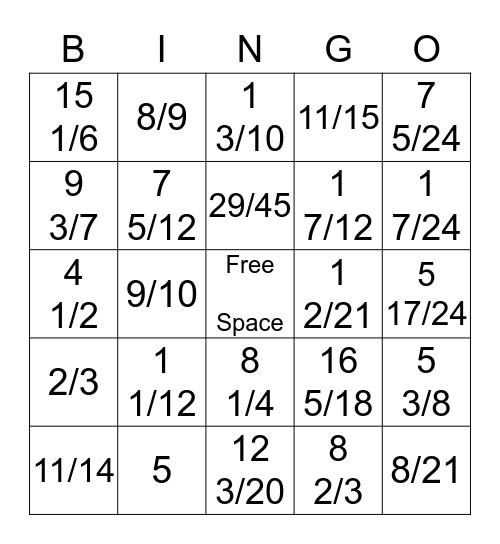 Fraction Fun Bingo Card