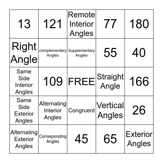 Angle Relationships Bingo Card