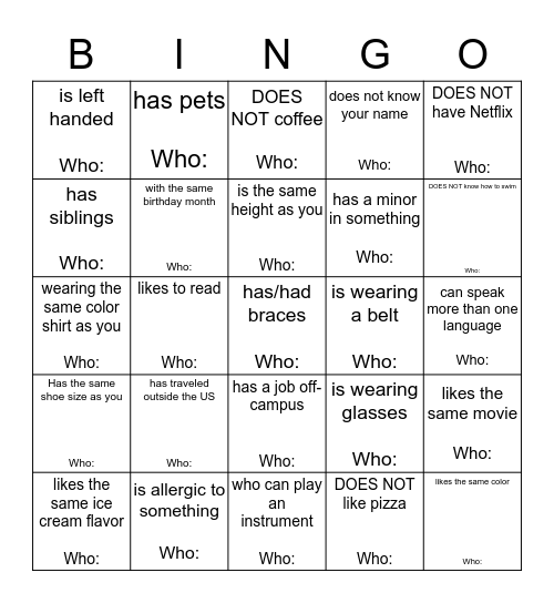 Find Someone Who......  Bingo Card
