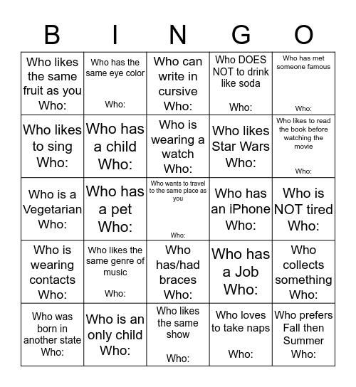 Find someone... Bingo Card