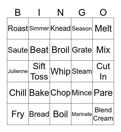 Recipe Terms Bingo Card