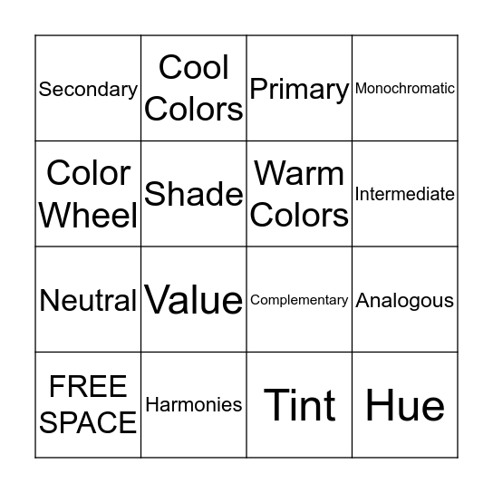 Bingo: Color Wheel Theories Bingo Card
