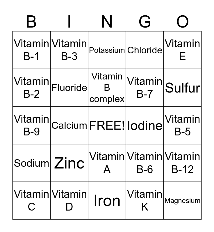Vitamin Bingo Card