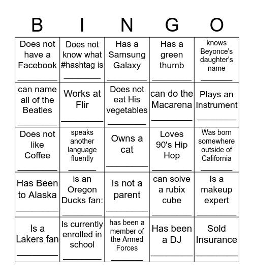 Get to Know BINGO :) Bingo Card