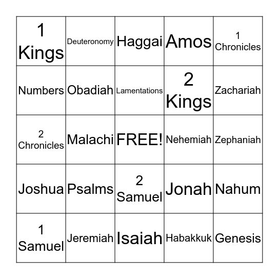 Old Testament Bingo Card