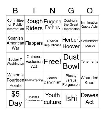 History Bingo Card
