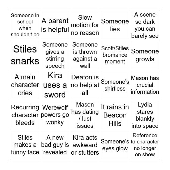 Teen Wolf Bingo - 5.20 Bingo Card